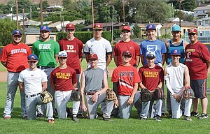 Members of the Columbia Gorge 'A' Hustlers (pictured from left to right), Wyatt Stutzman, Preston Klindt, Johnny Miller, Bailey Ortega, Daniel Peters, Jacob Smith (In back row, from left), Tyler Westin, Matt Strizich, William Justesen, Jacob Wetmore, Bradley Moe, Spencer Honald, Jose Gonzalez and head coach Ed Ortega are a young and determined team that is poised to take their game to a higher level for a solid postseason run in the 2015 summer American Legion baseball season. Not pictured: Connor Uhalde, Tylan Webster, Cash Mathewson, Storm Douthit and assistant coaches Mike Armstrong and Brandon Strizich.