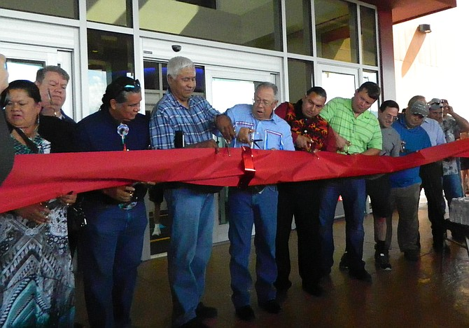 Colville Business Council members cut the ribbon to open the new 12 Tribes Resort Casino south of Omak off U.S. Highway 97.