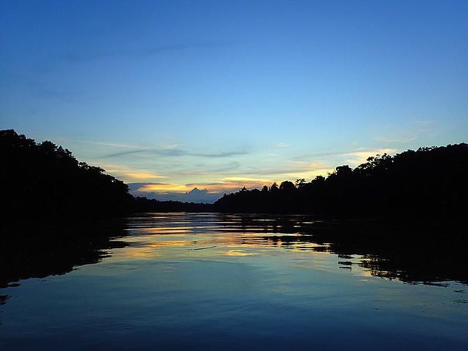 A placid sunset on Kinabatangan River.