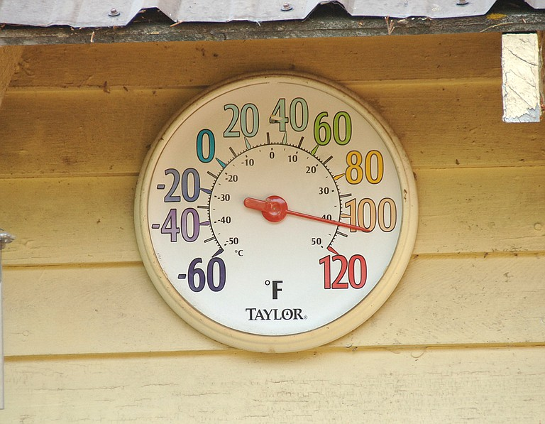 A thermometer shows the Sunday temperature higher than 100 degrees in Okanogan.
