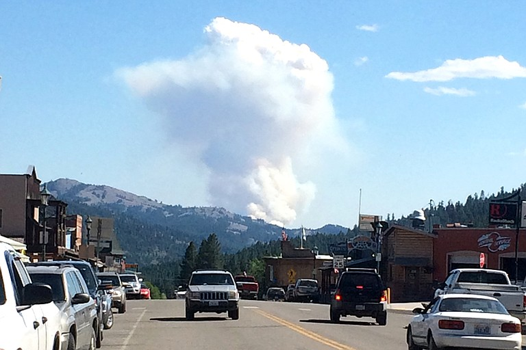 A plume of smoke rises south of Republic yesterday afternoon.