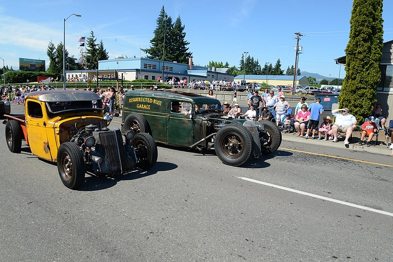 """RESTORED (and under restoration) vehicles from WAAAM and the community will be on display this weekend, including Hood River's """"Coke Truck"""" and """"Roadmaster Junior,"""" shown in the July 4 parade. Roadmaster, from Resurrected Garage, won the 2014 Blue Collar Rat Rod build out last year."""