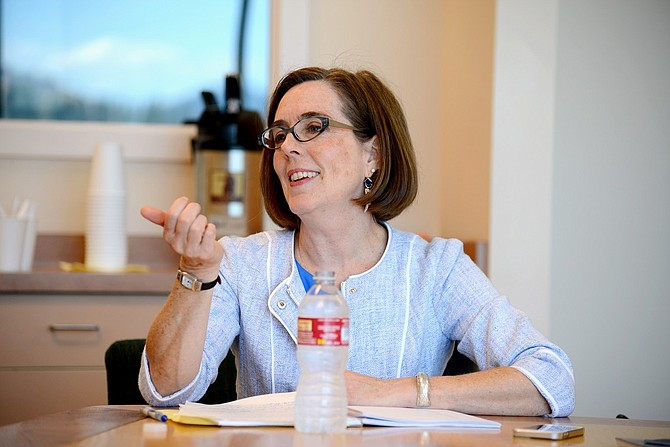 Gov. Kate Brown meets with Hood River News editorial board.
