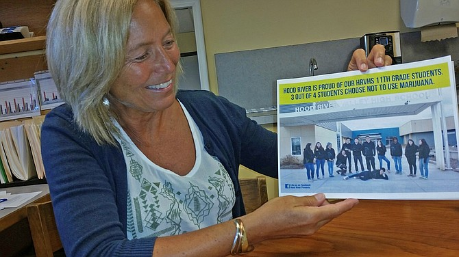 BELINDA Ballah shows one product of a Health Media Club marijuana abuse prevention campaign. Ballah and others work with middle school and high school students on public education outreach promoting healthy lifestyles.