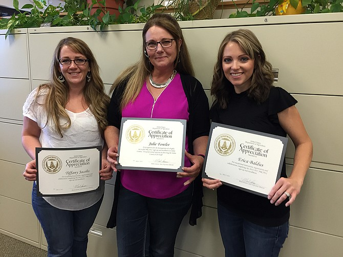 Pictured (L-R) are FSAemployees TiffanyJacobs, Julie Fowler and Erica Baldus.