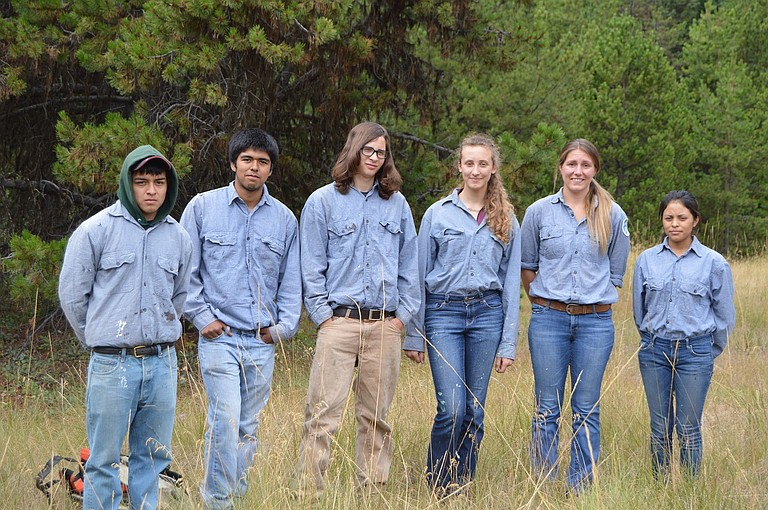 Youth Conservation Corps crew, from left to right: James Baeza, Eduardo Casillas, Grant Adams, Alina Watt, crew leader Susan Owen and Gabby Pille. The team has spent the past eight weeks working on projects in the Mt. Hood National Forest, with Friday their last day.