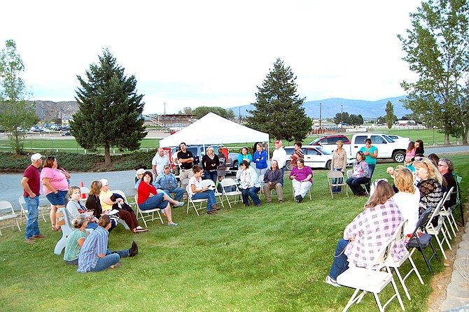 Community members, annual fairgoers and department superintendents await a recommendation from the Okanogan County Fair Advisory Committee Thursday at the fairgrounds.