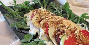 Beet and Apple Salad, Gorgonzola cream dressing, pine nut rosmary brittle.