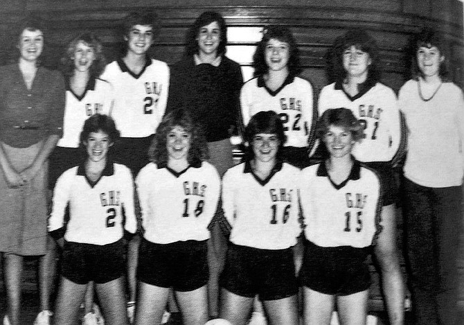1986 Blue Camas Yearbook from Grangeville High School The first-ever volleyball team at Grangeville High School in 1985 included (top, L-R) manager Lisa Klement, Mitzi Fisher, Dawn Vrieling, CoachSally Corcoran Payne, Trish DeHaas, Angela Brady, manager Debby Talbot; and (bottom, L-R) Dani Williams, Carol Eimers, Lynn Jessup and Jill Lamb. Not pictured Marci Higgins, Jody Asker and Jill Rickett.
