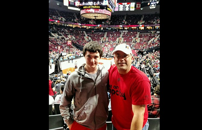 """LITTLEBROTHEREthan and his """"Big"""" Greg Jensen  are pictured at a Portland Trail Blazers game last year.They both enjoy sports. Contributed photo"""