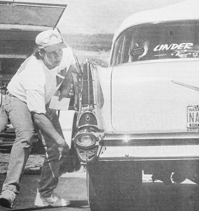 1995: Sunnyside's Wayne Linder Jr. prepares his 1957 Chevy for the Renegade Raceway drag races near Parker. He earned top Super Pro honors.