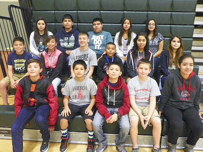 Sunnyside's Sierra Vista Middle School students of the month for September include (front row L-R) Alex Arreola, Chase Yanez, Enrique Lopez, Simon Copenhaver and Erica Garcia-Fajardo; (middle row L-R) Christopher Cardenas, Hennessy Rodriguez, Ben Oswalt, Missael Venegas, Cheyanne Rendon and Lizbeth Gomez; (back row L-R) Claudia Becerra, Elijah Orosco, Martin Ruiz-Ruiz, Yaritzy Hernandezy and Rachel Guerrero. Not pictured is Sarah Waywell.