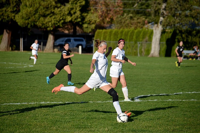 Kassidy Davidson winds up to score HRV's first goal of the afternoon.