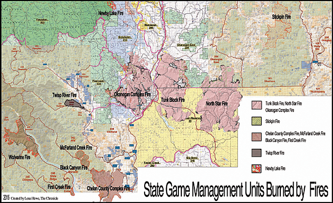 Game Management Units (GMU) map overlayed with summer fires to get an idea of where to or not to hunt starting Oct. 17.
