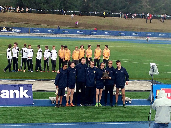 THE BOYS came away with their first state trophy in recent years, which they host in the above left photo, placing fourth.
