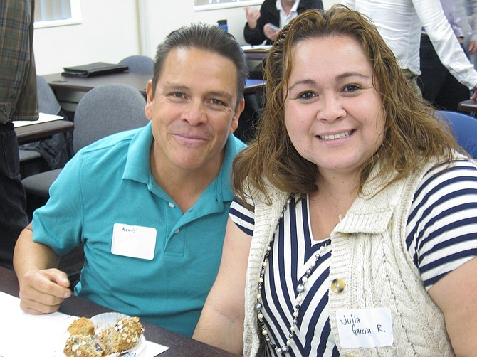 ENERGY meeting attendees include Manny Garcia of Hood River City Public Works and Julia Ramirez, Hood River County School Board member.