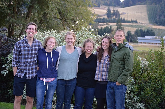 New to Hood River County are Jesuit Volunteer Corps members (from left) JP Ideker, Leslie Stegeman, Anna Kottkamp, Bridget Hinton, Allison Vanderberg-Daves and Ethan Haugh. They will spend the next year working at various agencies in Hood River, Odell and The Dalles.