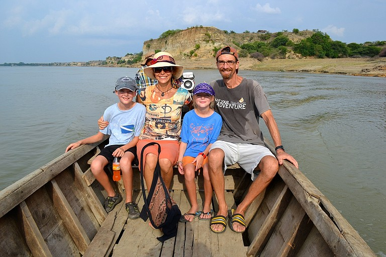 The Behrmann-Trainer family spent two years in Thailand, teaching and studying at the Ruamrudee International School. Above, Dylan, Nancy, Annika and Dwight do some sightseeing.