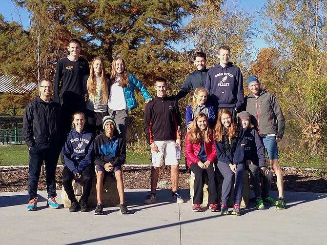 HRV HARRIERS and coaching staff gather for a photo at the Nike Cross Northwest meet in Boise, Idaho.