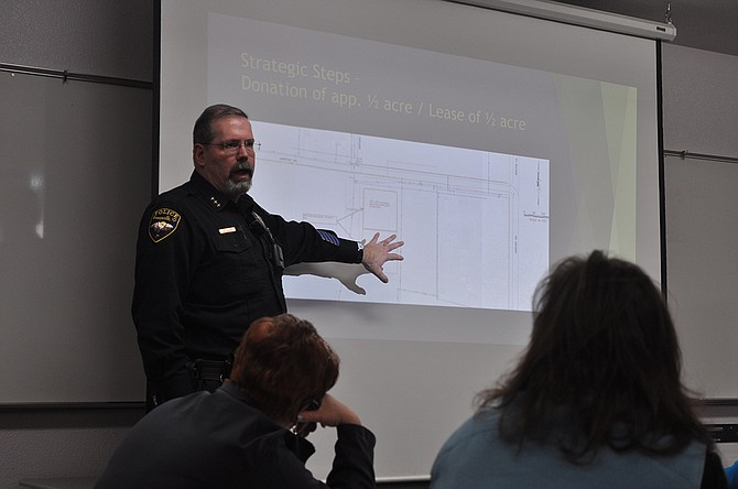 Grangeville Police Chief Morgan Drew discusses the proposed ARF facility at last week's organizational meeting.