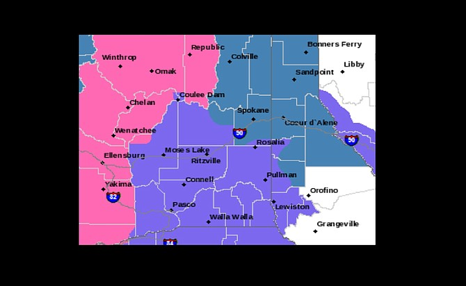 The pink shaded area indicates the winter storm warning area.