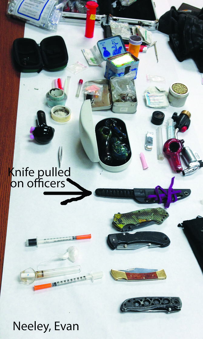Officers seized stolen property at a residence in Falls City.