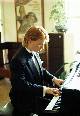 Erick Haynie (shown here practicing at home during his high school days) will play his Barrelhouse style piano as part of the I Hate Cancer Concert on Jan. 9. The show is sold out, but donations can still be made to the Don Benton Cancer Fund. Details at musicforchildren.com.