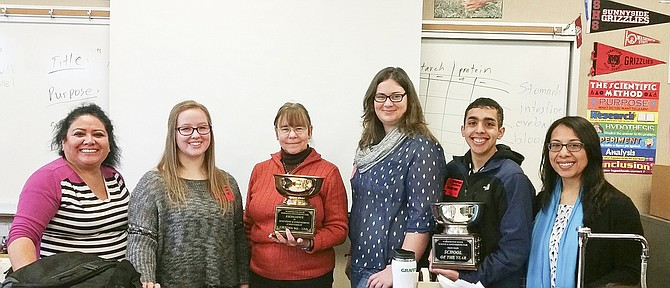 Sunnyside High School science teacher Joyce Stark, third from left, had some of her former students visit to encourage current ninth graders in their science fair projects. Also pictured from left are Teri Alvarez-Ziegler, Payton Sample, Cynthia Van Wingerden, Andre Cavazos and Yasmin V. Barrios.