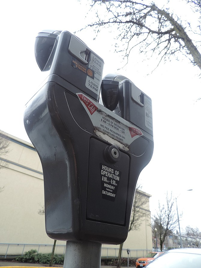 TRADITIONAL coin-style meters are still common in downtown Hood River, though many were replaced in 2008 and 2014 as part of the urban renewal projects on Oak and State streets. Parking fees are scheduled to increase to $1 per hour later this year.