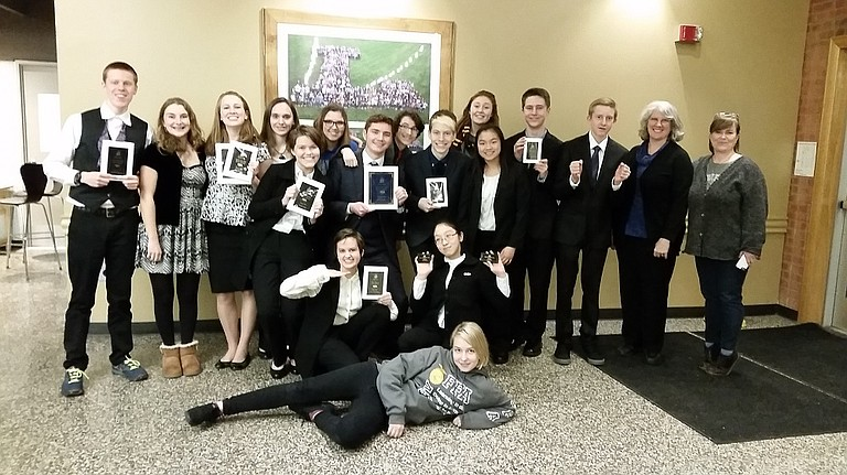 Members of the Hood River Valley High School Speech and Debate Team at the 81st Linfield Singletary tournament held recently in McMinnville.