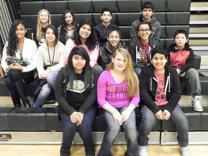 Sierra Vista Middle School's January Students of the Month include, front row left to right, Andrea Cortez, Hailey Schlosser and Alexis Pacheco; middle row: Diana Cardenas, Nailea Galvez, Helen Palma, Julianne Rios, Patrisia Contreras and Diego Gutierrez; back row: Gillian Moyer, Bianca Salgado, Jesse Jaquez and Fernando Anguiano.