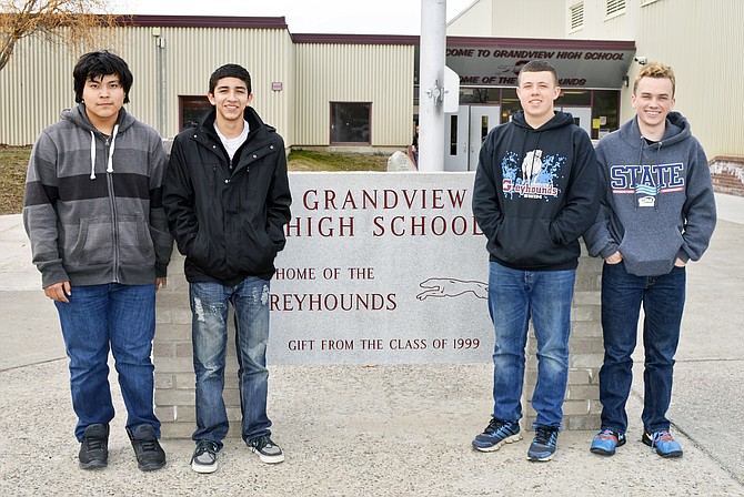 Members of Grandview's 200 meter medley relay team; left to right, Jonathan Flores, Angel Morales, Westly Lakins and Micah Binfet; are headed to state swimming championships this Friday and Saturday in Federal Way.