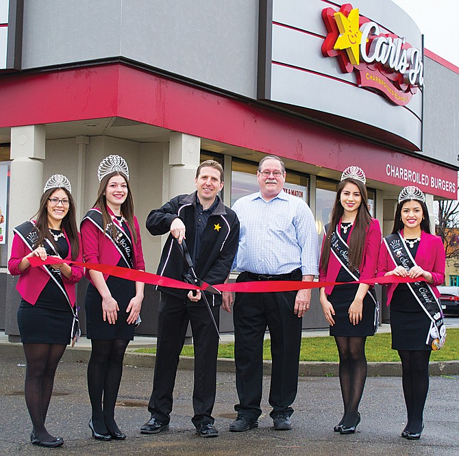 The Miss Sunnyside Court helped open Carls Jr. this morning. From left to right, Princess Jaquelinne Herrera, Miss Sunnyside Jessica Linde, Carl's Jr. owner Paul Jones, Carl's Jr. Franchise Consultant Ed Donahue, Princess Lucero Mejia and Princess Alyssa Ceja.