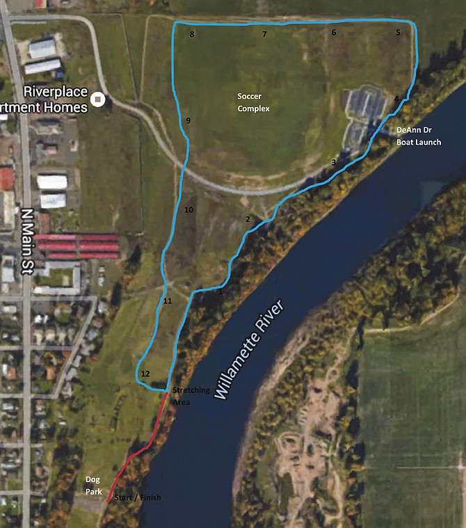 The course will start at the dog park and run around the soccer complex.