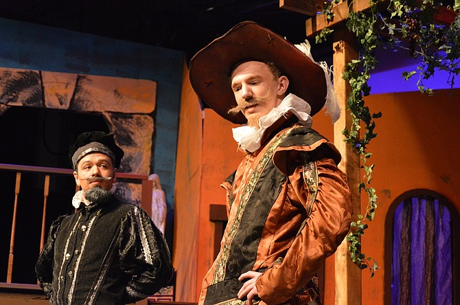 "Petruchio (Jasper Krehbiel) and Hortensio (Blaise Kaufman) discuss their marriage prospects in ""Taming of the Shrew,"" in its last weekend at Hood River Valley High School. Shows March 11-12 begin at 7 p.m. in the Bowe Theatre."