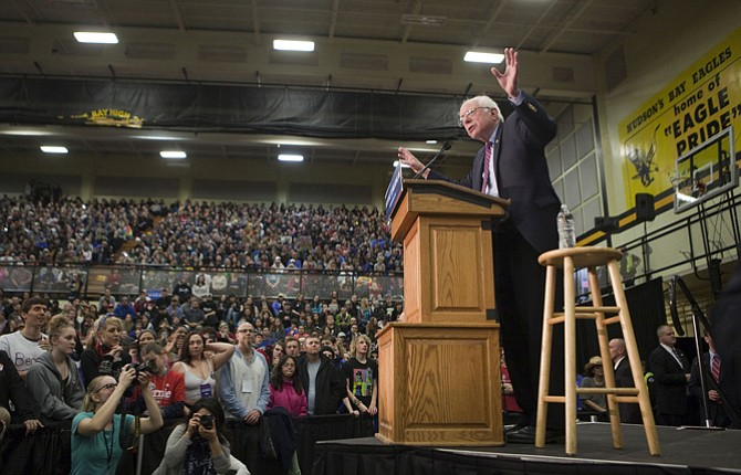 Democratic presidential candidate Bernie Sanders, I-Vt., speaks at Hudson's Bay High School in Vancouver, Wash., Sunday. Sanders urged the crowd to vote in next Saturday's Democratic caucuses.