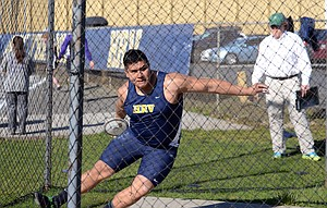 Sebastian Barajas competes in the discus event.