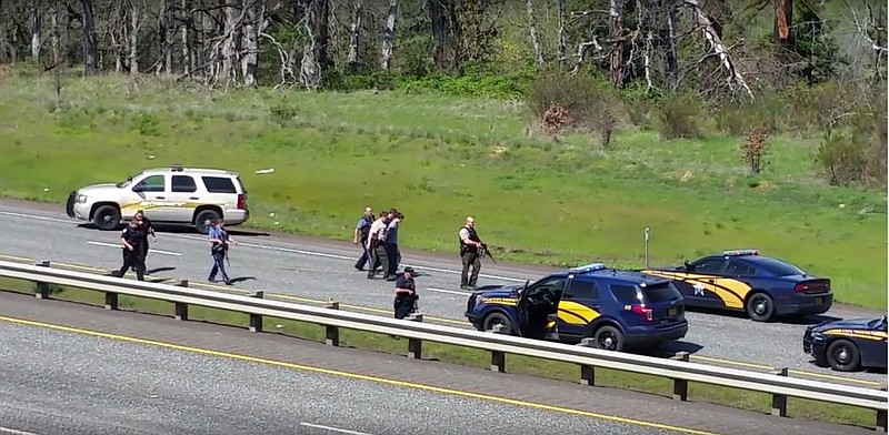 FOUR-COUNTY CHASE ended on Interstate 84 in Hood River, when a team from
