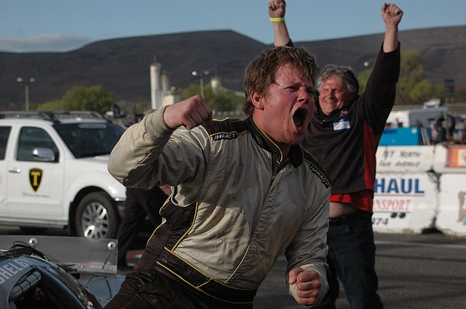 Shelby Thompson celebrates after winning last year's Apple Cup at Yakima Speedway.