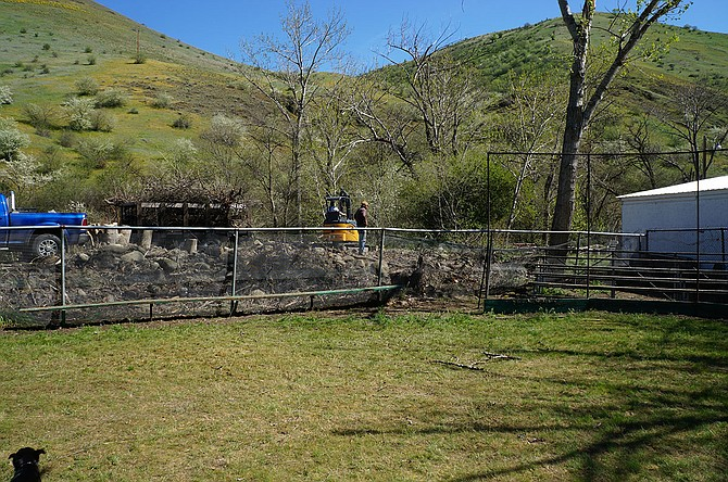 Volunteers spent time April 9 clearing and cleaning at the old White Bird School, now the White Bird Area Recreation District.
