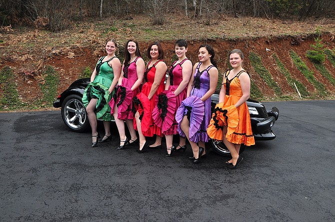 Can can dancers are a long-standing Follies tradition. From left, Emily Hogg, Sarah Fox, Andrea Fox, Lulu Perkins Roush, Courtney Castaneda, and Natasha Munzer.