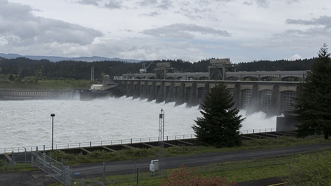 WATER FLOWS through Bonneville Dam west of Cascade Locks. BPA took stock of water conditions this spring and reported their supply is at 104 percent of usual, or normal conditions.