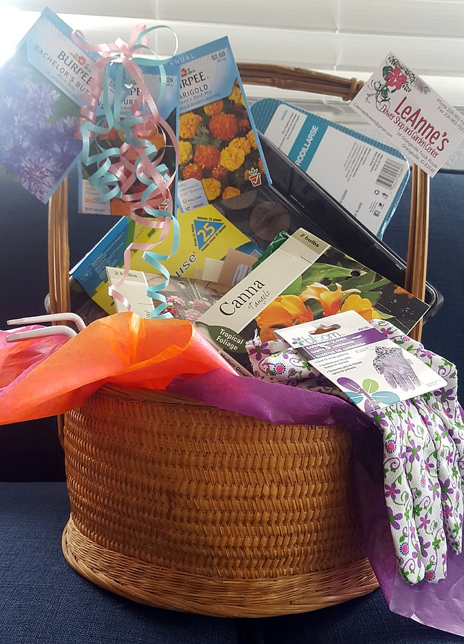 One of the Walk for Life prizes — this one donated by LeAnne's Flower Shop and Garden Center in Grangeville.