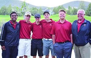 The Dalles golf team members, pictured from left to right, Darsh Patel, Tyler Vassar, Chase Snodgrass, Mark Felderman, Jacob Ford and head coach Kent Smith take a group photo after placing fifth overall to earn a state qualification at the two-day Special District 2 Golf Tournament at Eagle Crest Golf Course in Redmond. The fifth-place finish qualfied TD for state action for the first time in seven years.  					                  Pinal Patel/Contributed photo