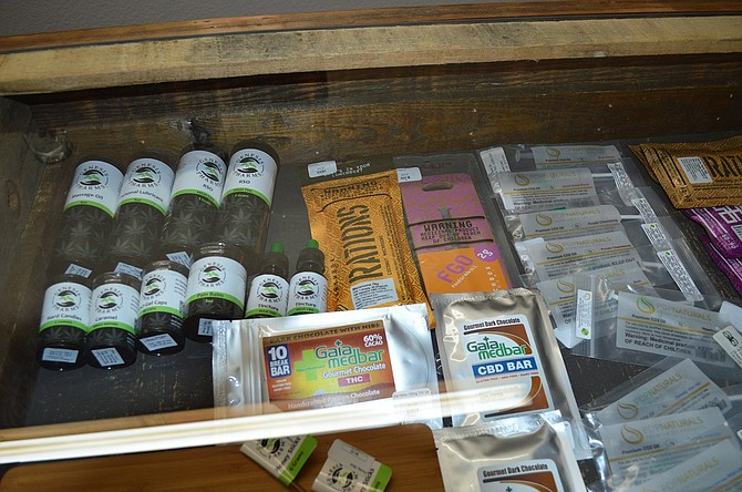 MARIJUANA CHOICES are expanding for recreational customers with new rules via Oregon Health Authority, starting June 2. Edibles and extracts for medical patients rest behind glass at Gorge Greenery, a marijuana dispensary at 13 Oak Street.