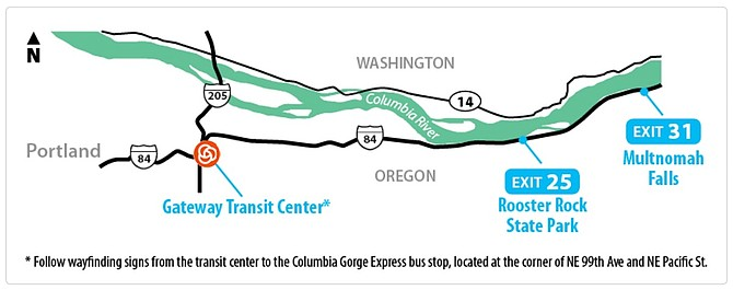 BUS SERVICE will connect Portland to Multnomah Falls with weekend trips, starting Memorial Day Weekend. Oregon Department of Transportation and partner groups are introducing the pilot program on May 27. Tickets will be $5 per round trip, available online.