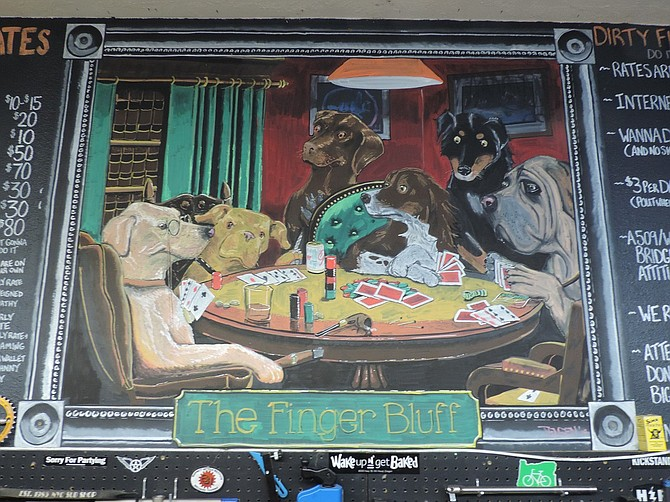 Chalk rendering of Dirty Fingers' Monte and pals by artist Jared Jensen.