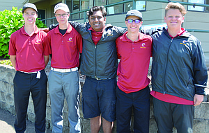 The Dalles boys' golf team members, pictured from left, Mark Felderman, Tyler Vassar, Darsh Patel, Chase Snodgrass and Jacob Ford are all smiles after combining for a team score of 656 and a sixth-place tie in the standings. Snodgrass ended up tied for 11th with his 153 and the four other golfers placed within the top-50 overall.  			            Pinal Patel/Contributed photo