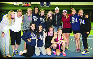 The Dalles tennis players share a group shot after participating in the 5A Special District 1 Tennis Championships at Sunriver. The team finished in third place overall, had seven players advance to second-day play and the No. 1 doubles team of Kiana Pielli and Johanna Wilson punch a state ticket after a finals berth.  					                          Contributed photo