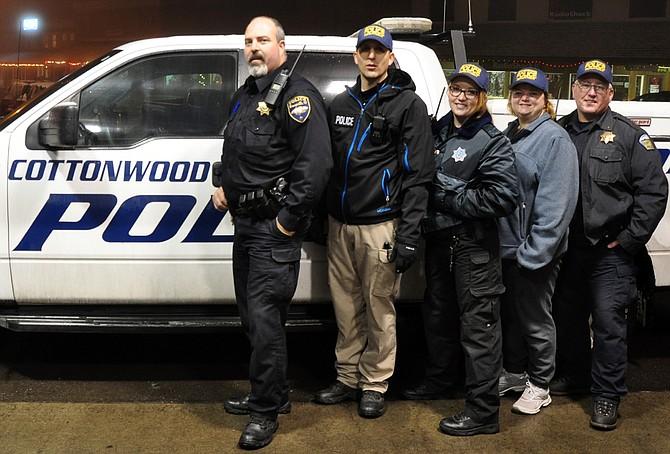(L-R) Officer Wes Walters, Officer Jason Rambo, volunteer Officer Danielle Cochran, volunteer Jennifer Cochran and Chief Terry Cochran.